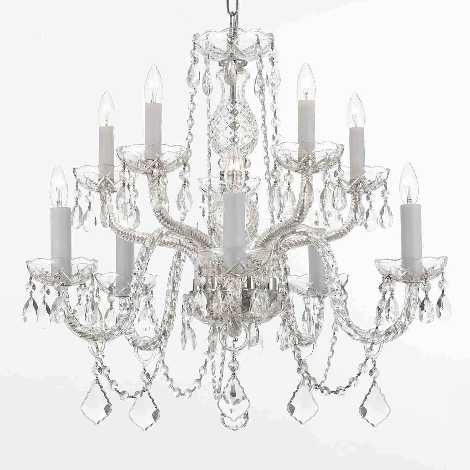 This Beautiful Chandelier Is Decorated With Crystal