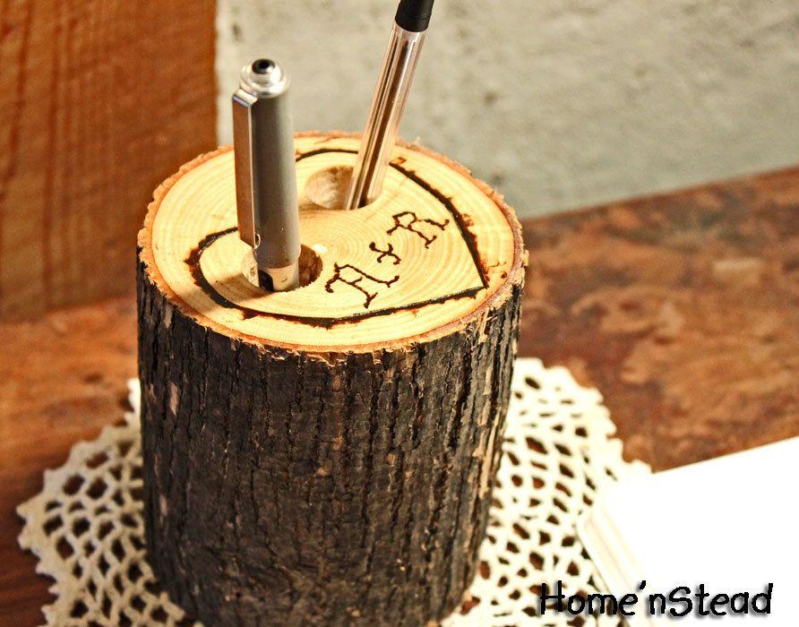 Rustic Wedding Guest Book Pen Holder Table Center Piece Heart Custom Initials