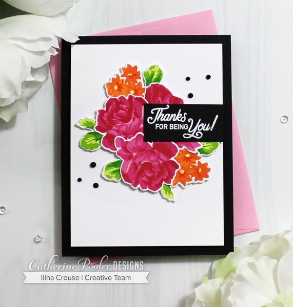 Clean & Simple Rose Garden Thank You Card with Ilina is part of Simple Rose garden - Create a hand made thank you note with multistep stamped roses