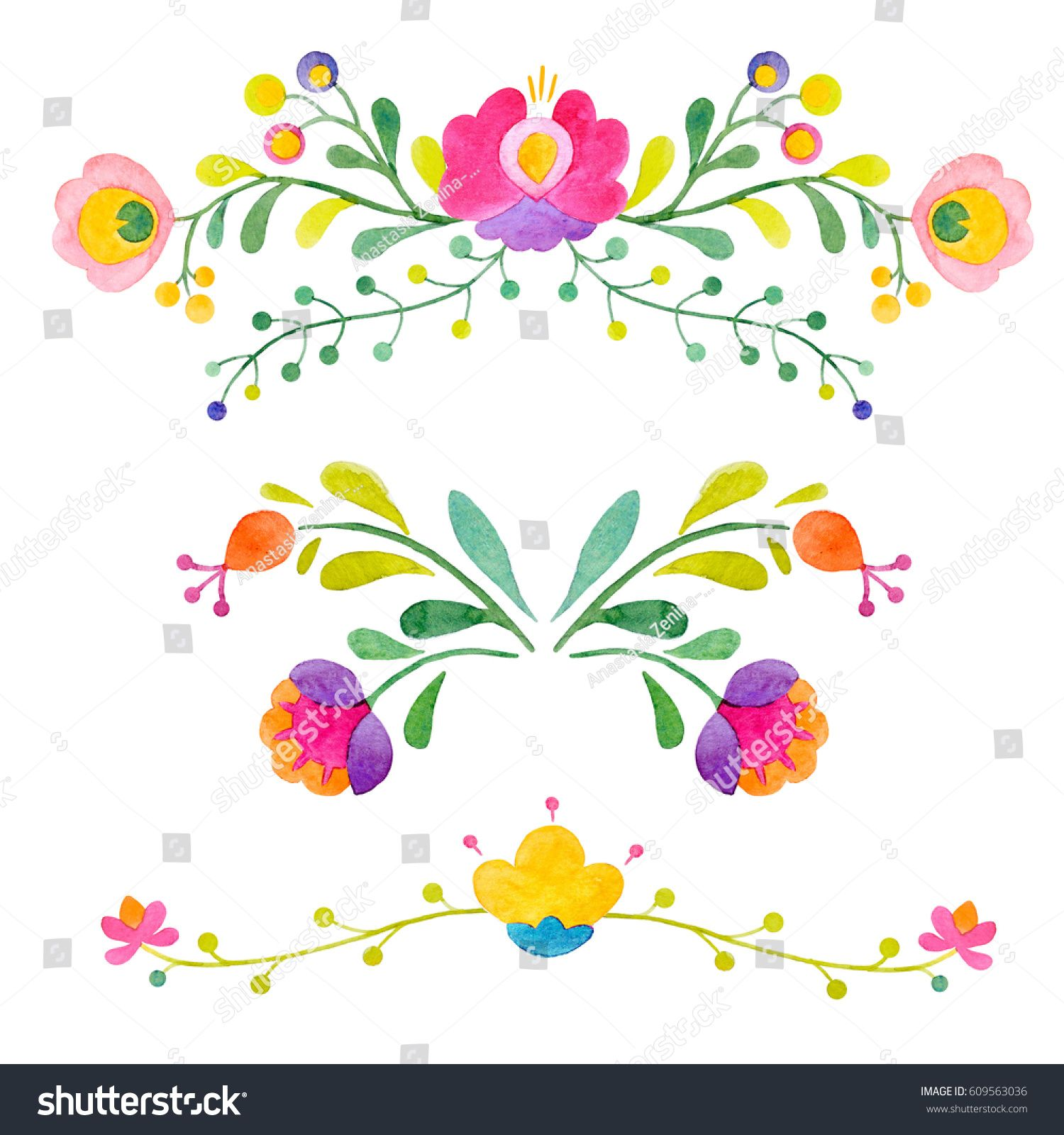 Watercolor abstract cute elements Floral Mexican pattern Doodle