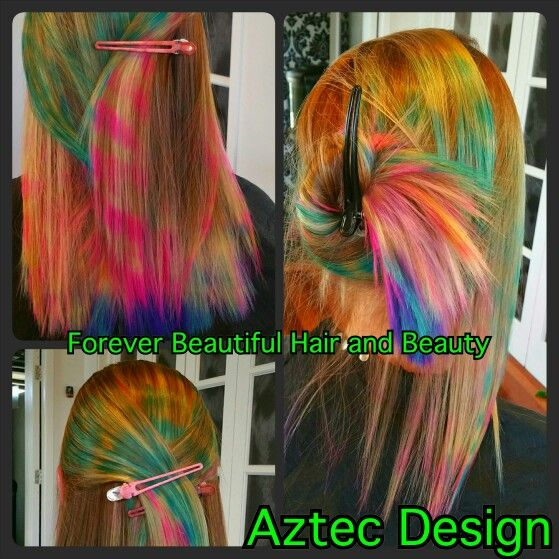 Aztec Design on Hair.  Hair Colour Color  Forever Beautiful Hair and Beauty  Pink Purple Blue Teal Multi