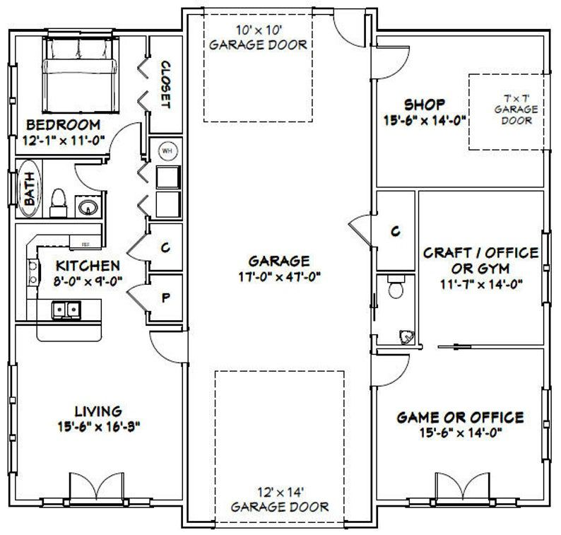 50x48 1 RV Garage 1 Br 1.5 Ba PDF Floor Plan