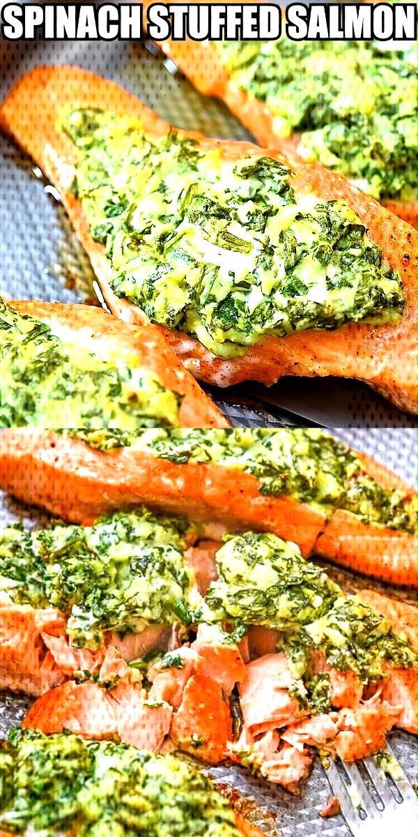 Spinach Stuffed Salmon Spinach Stuffed Salmon – spinach, cream cheese, feta, and mozzarella stuff