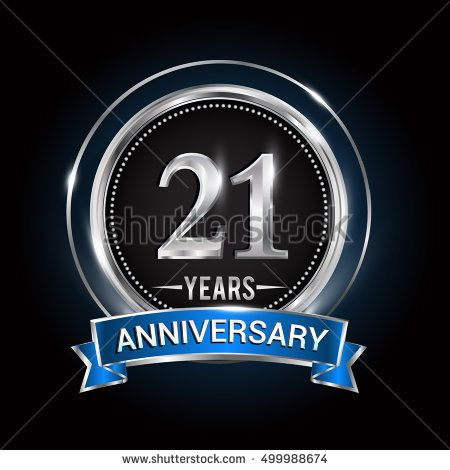21 Years Anniversary Logo With Silver Ring And Blue Ribbon Vector Design Template Elements For Birt Birthday Logo Anniversary Logo Anniversary Greeting Cards