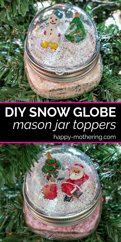 How To Make Diy Snow Globe Mason Jar Toppers For Handmade Christmas Gifts Snow Globe Mason Jar Homemade Snow Globes Diy Snow Globe