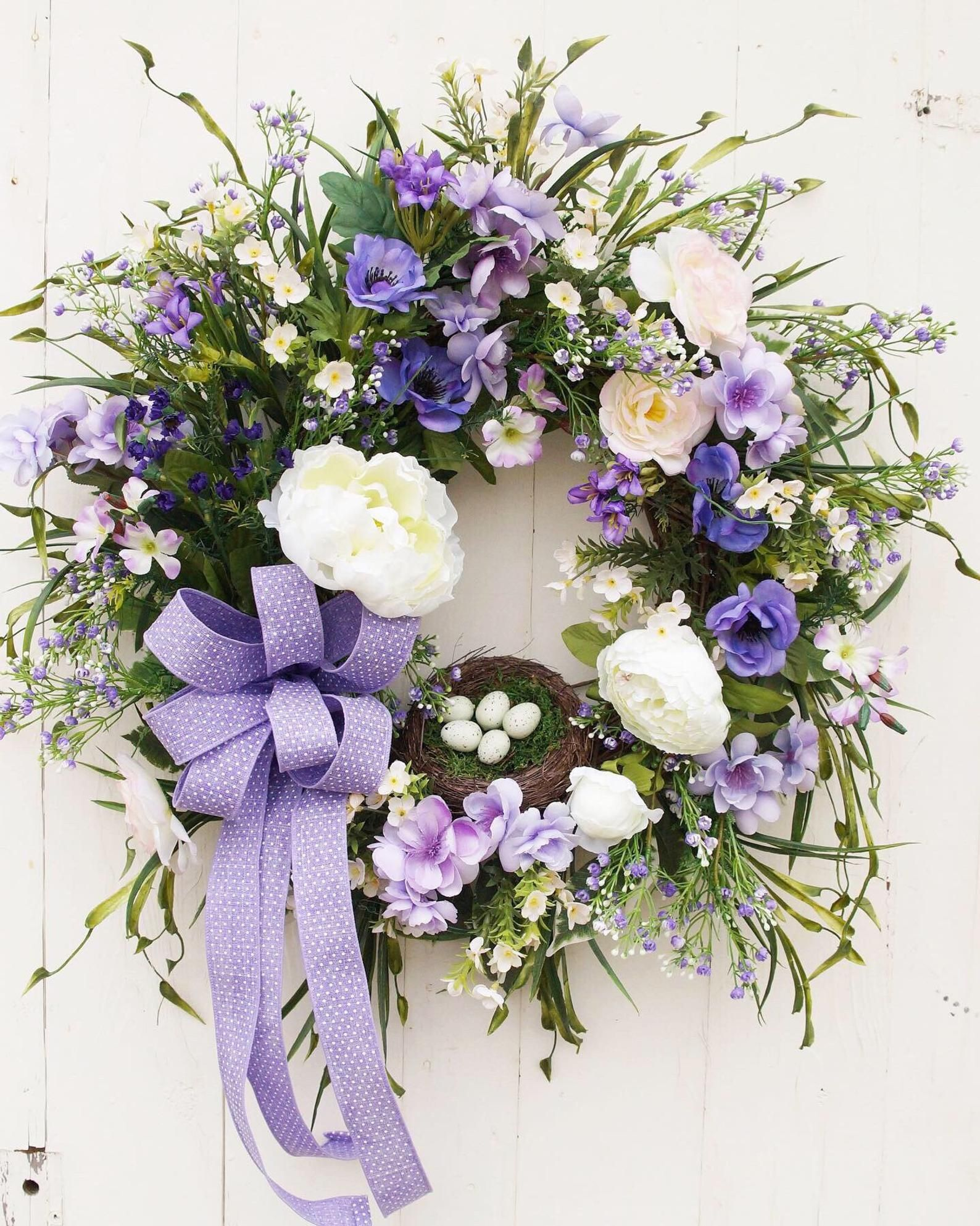 Photo of Purple spring country house wreath for front door, spring flower garden wreath, southern wreath for spring, farmhouse style home decor