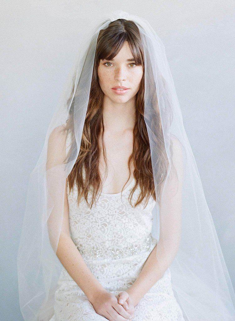 2 Piece Simple Gathered Veil Style 786 Bride Headpiece Veil Styles Blusher Veil