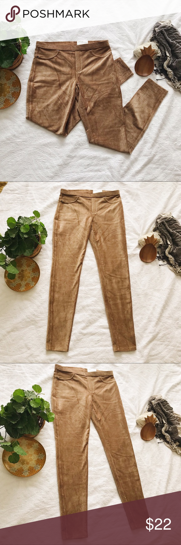 2fad0d73ef3cb HUE • Corduroy Leggings Caramel Tan Stretch Jean • HUE • women's size  medium • super soft, stretchy corduroy Leggings. Elastic waistband, fake  front pockets ...