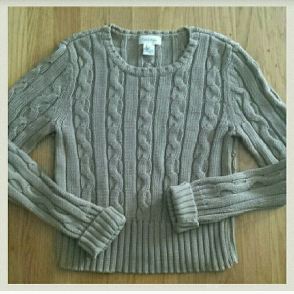 Calvin Klein Tan Cableknit Cotton Sweater Sz. S This sweater is very pretty. Excellent condition worn only one time. 100% cotton. Calvin Klein Sweaters