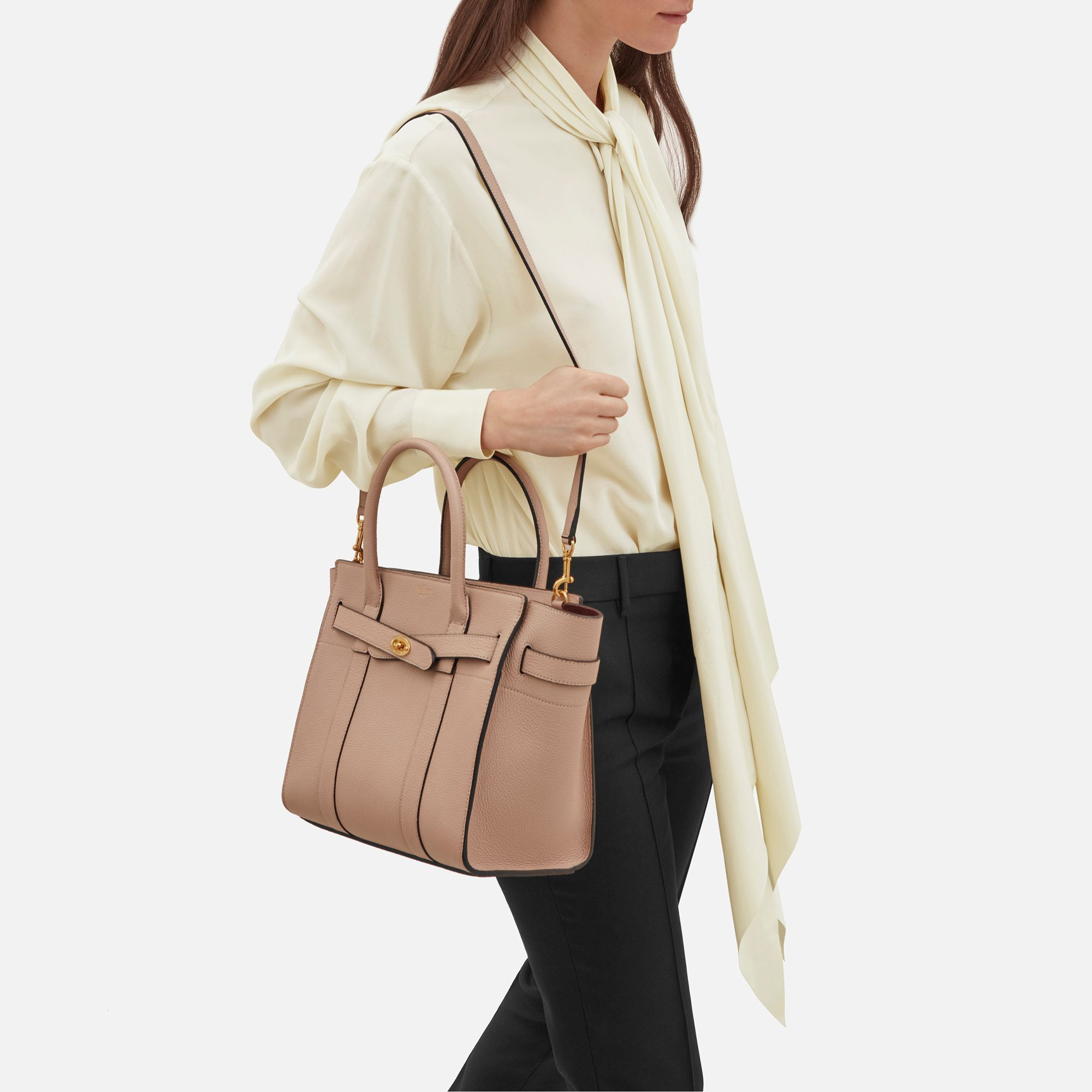 77f28b664383 Shop the Small Zipped Bayswater in Rosewater Leather at Mulberry.com. The  Bayswater is our most iconic bag