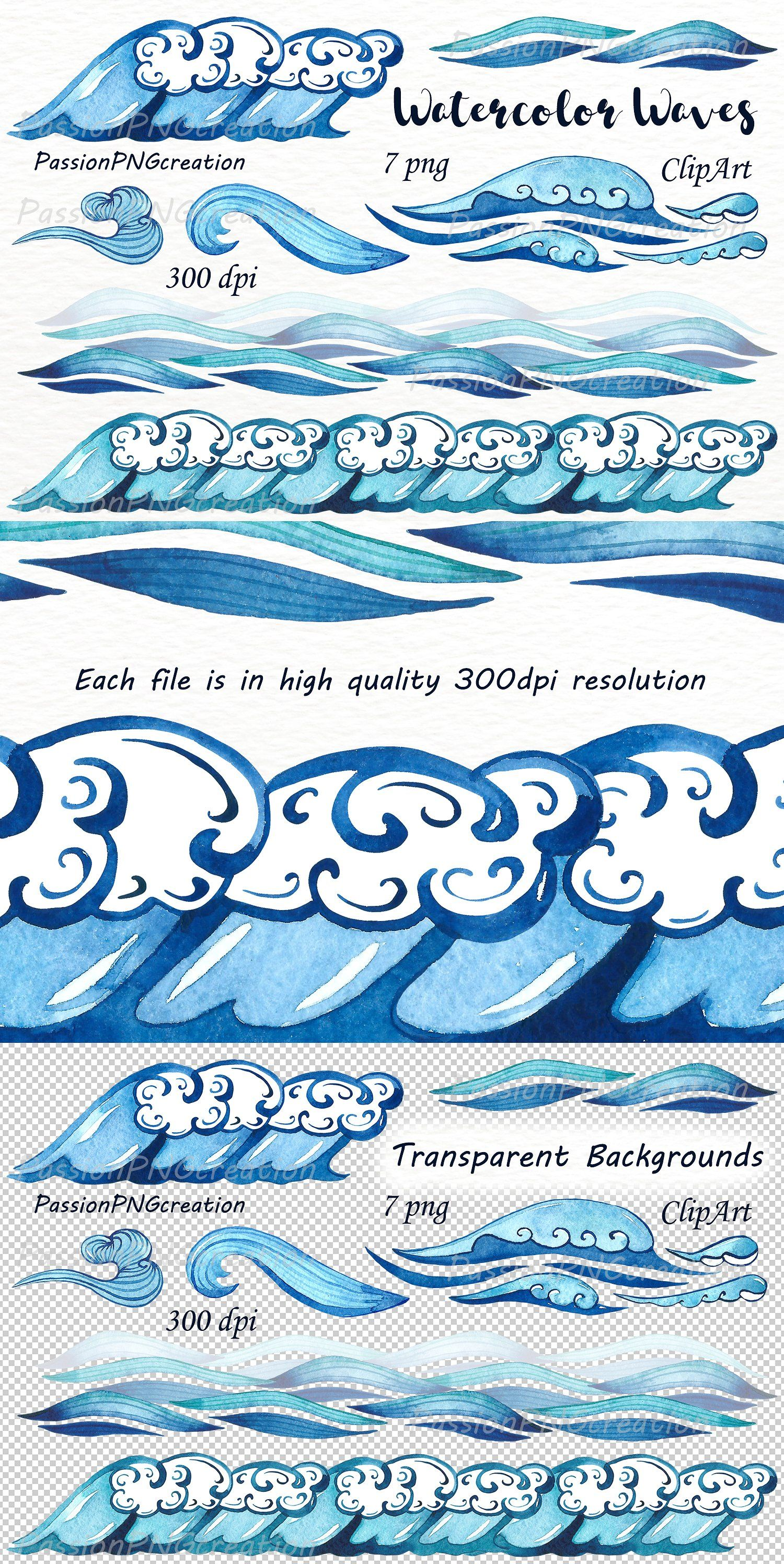 Watercolor Waves Borders Clipart Clip art borders