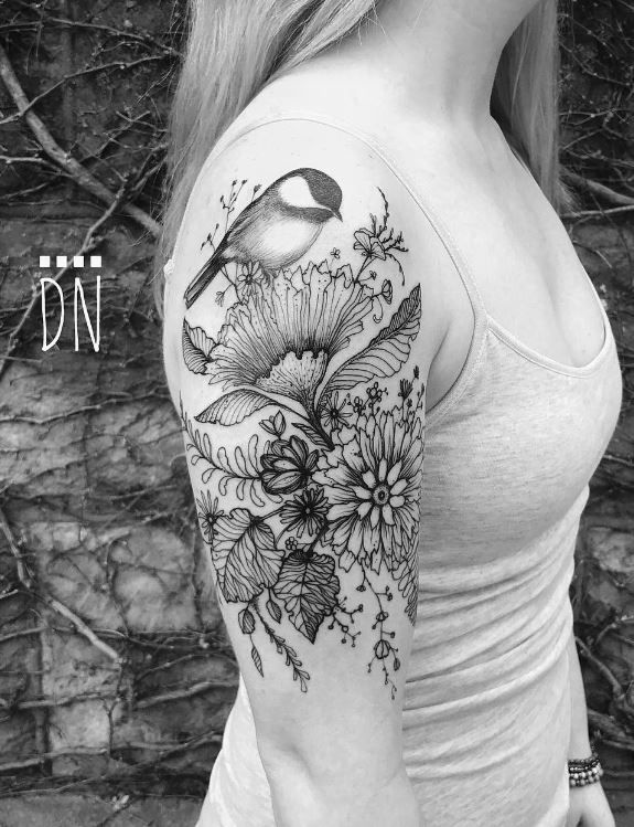 Beautiful Realistic Chickadee Tattoo By Australian Realism: Chickadee On Wild Flowers Tattoo