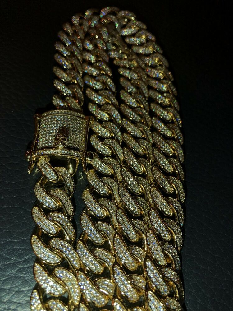40ct Lab Vvs Diamonds Total Of 40ct X21 12mm Thick Chain Has 4000 Lab Diamonds In Micropave Settings Cuban Link Chain Miami Cuban Link Chain Lab Diamonds