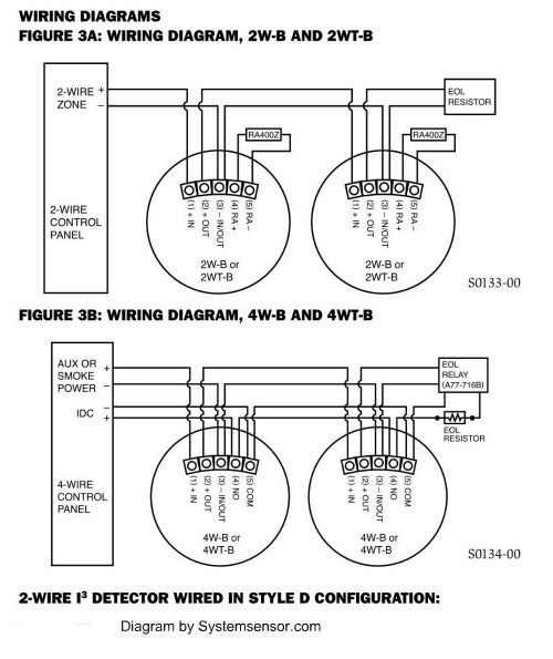 Hardwired smoke detectors System Sensor alarm wiring