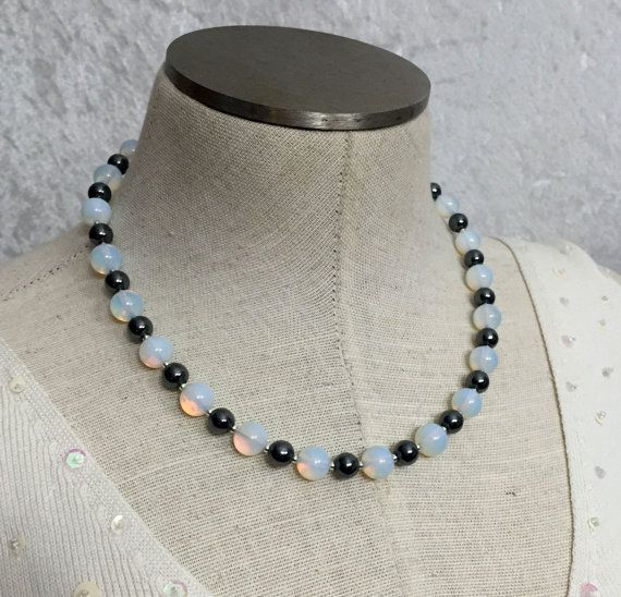 Hematite and opalite pearl-strand-style by VelvetCurtainDesigns