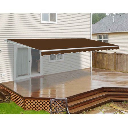 Aleko Motorized Retractable Patio Awning Brown 4 M X 3 M 13 Ft X 10 Ft Products Patio Flooring Retractable Awning Aleko Awning