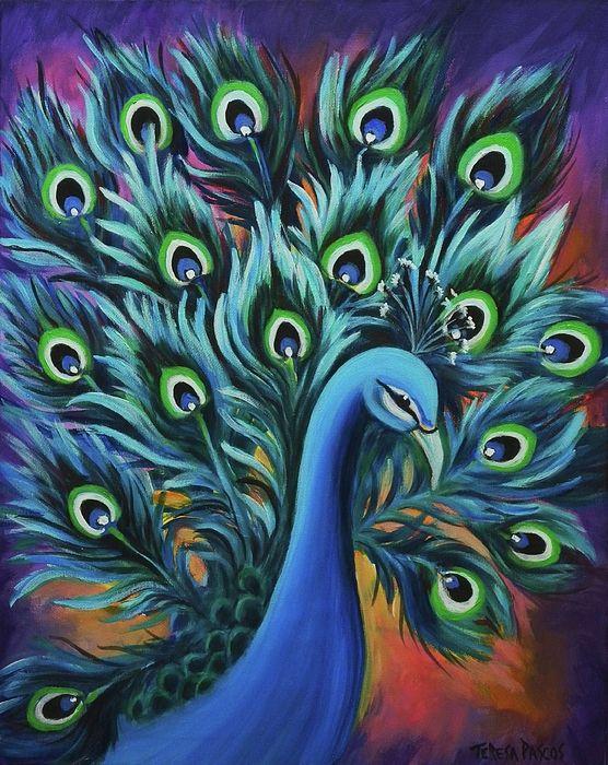 Peacock acrylic paintings - photo#37