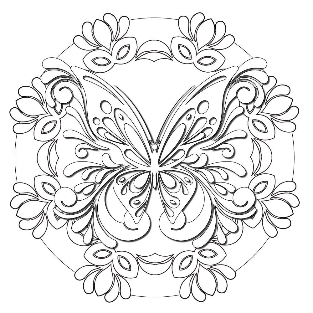 Butterfly Masquerade Mandala Colorme Decal Adult Coloring Pages