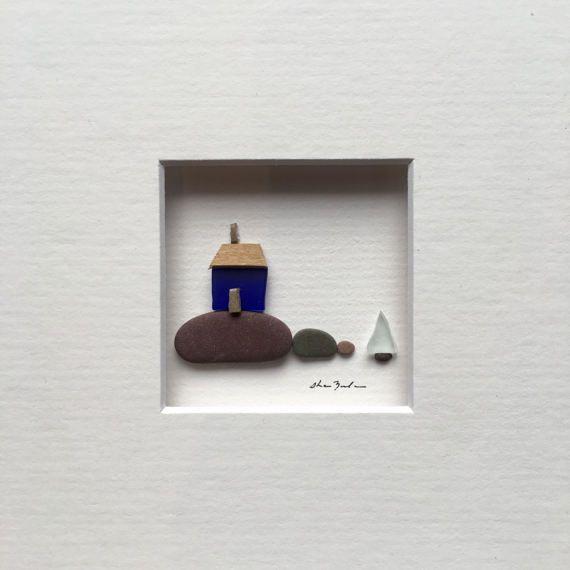 Mini piedra arte imagen viene matizado y listo para enmarcar a su ...