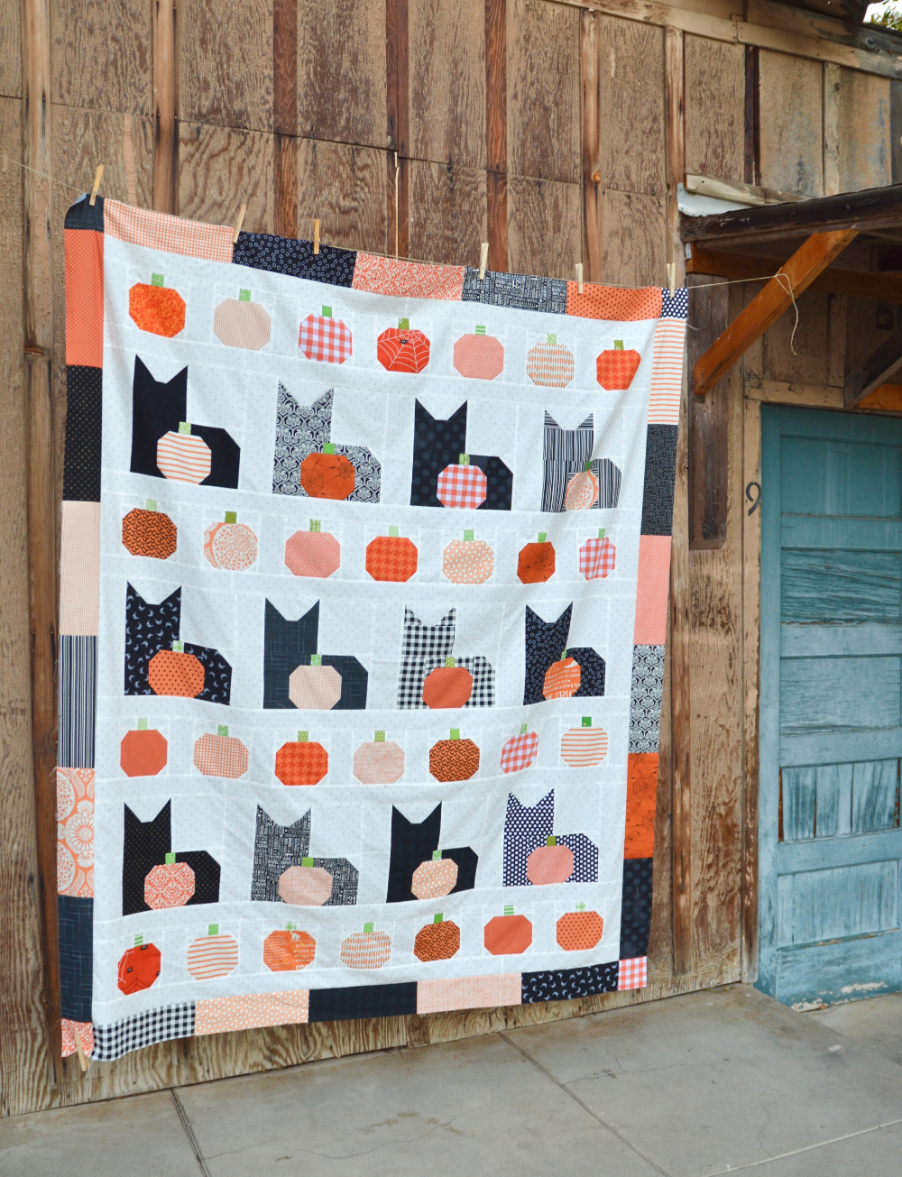 """I Love Cats Quilt Pattern is part of Cat quilt patterns, Halloween quilt patterns, Cat quilt, Cat quilt block, Quilts, Quilt patterns - I am so totally super excited to be sharing this pattern today! Meet """"I Love Cats""""   the quilt pattern! This quilt has been a labor of love and has been a long time in the makin…"""