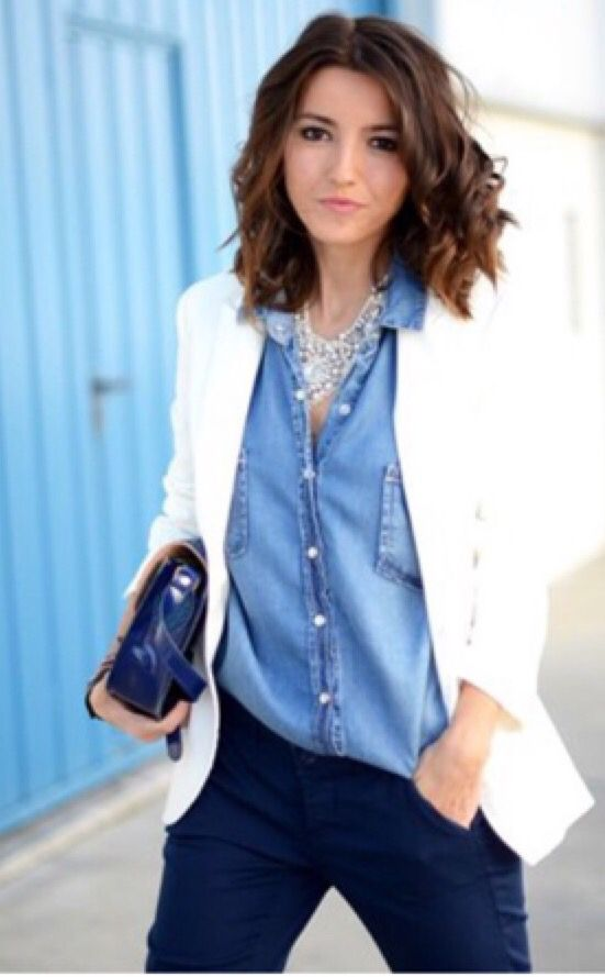 Denim Shirt / White Blazer