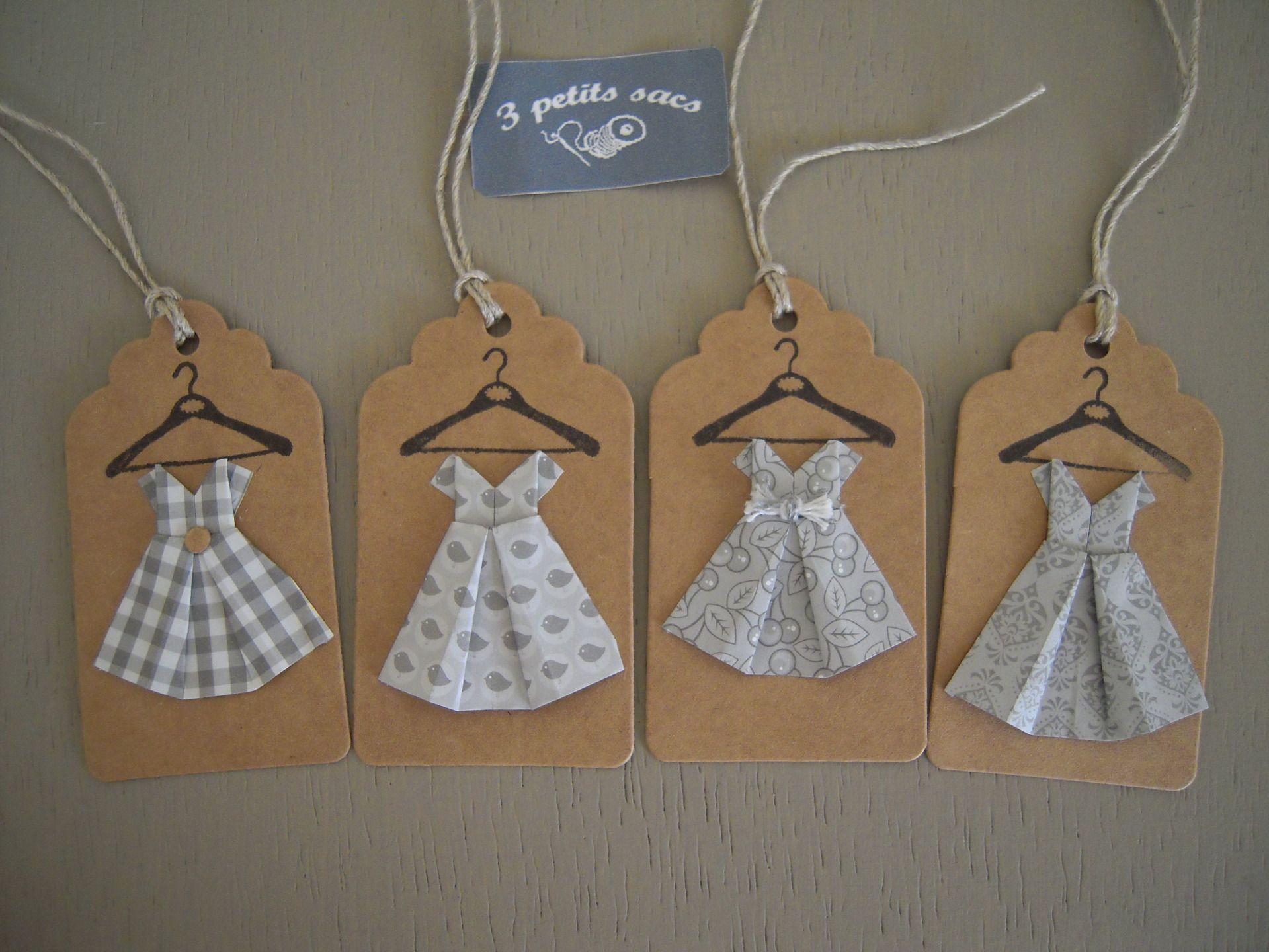 4 tiquettes kraft robes enfant papier cama eu de gris et blanc pliage origami mode filles - Robe en origami ...