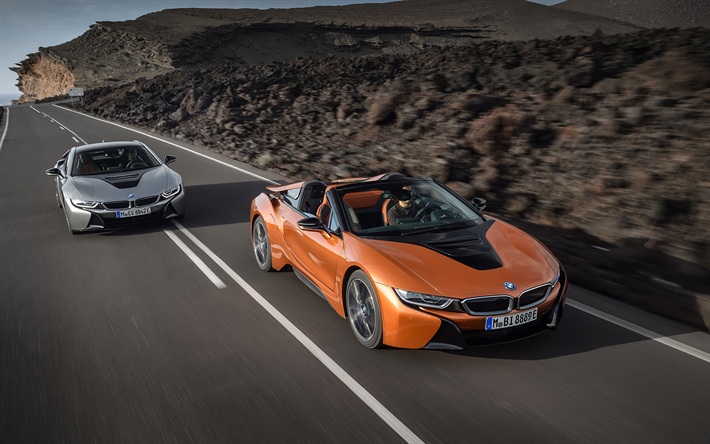 Download Wallpapers Bmw I8 2019 Orange Roadster Gray Sports Coupe