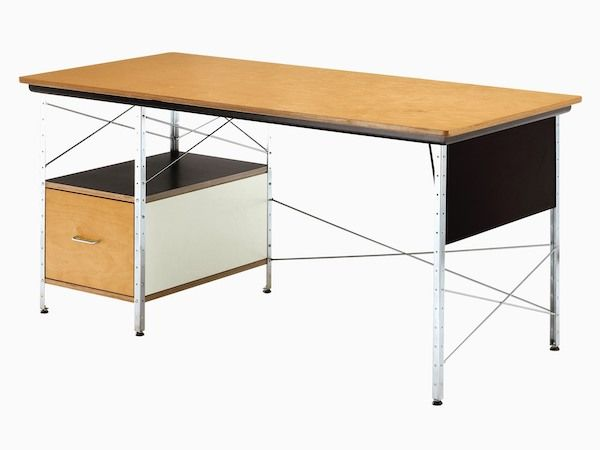 An Angled View Of An Eames Desk With A Neutral Color Scheme Featuring Birch White And Black Accents Eames Desk Desk Units Desk