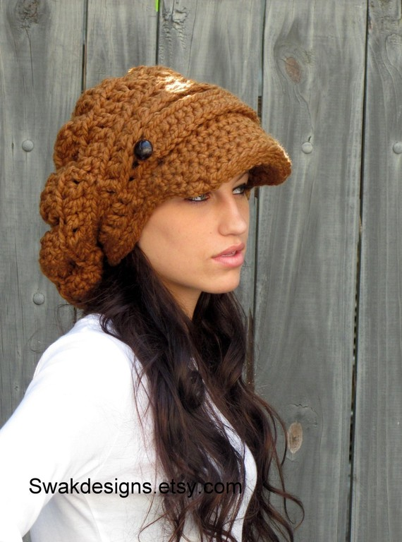 ca0a3135 Newsboy Hat Slouchy Hat Cap Chunky Hat - Two Button Band Slouchy Cap  Hazelnut or CHOOSE Your color Best Seller