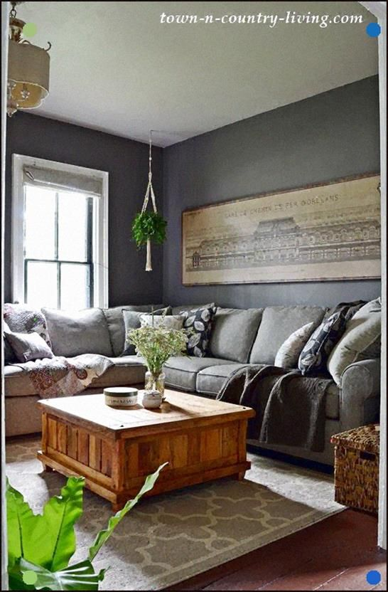 Summer Neutrals Home Tour - Dark Gray Living Room in 2020 ...