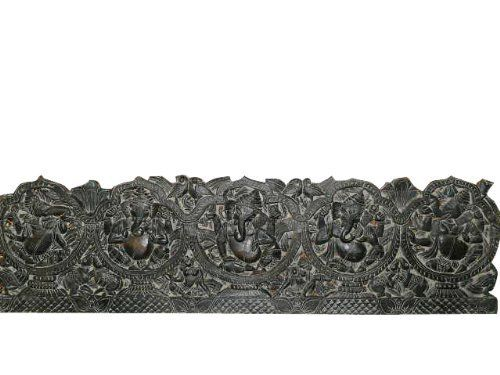 Mobiliindiani ~ Hand carved krishna wall panel playing flute with gopis carved