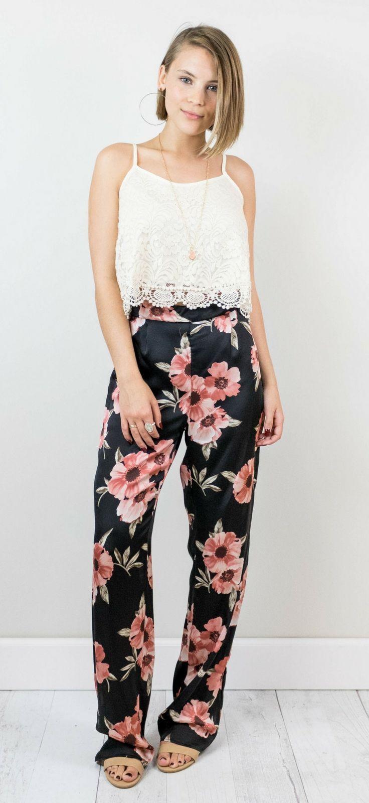 Black Floral Pants Shop The Copper Closet Pinterest Trendy