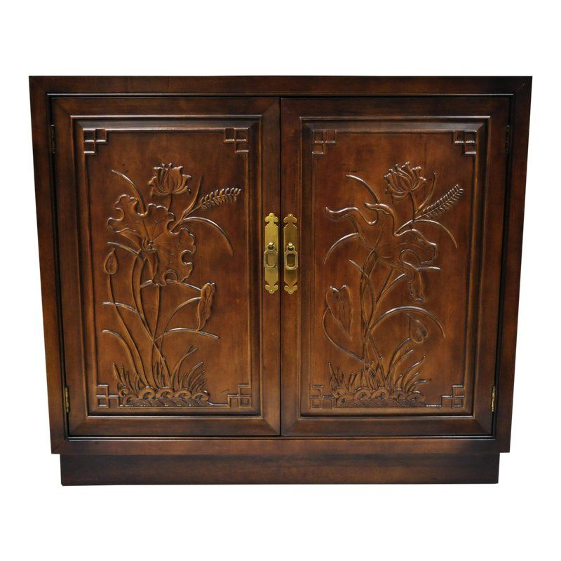 a242473bd6 20th Century Chinoiserie Henredon Folio 16 Floral Carved Server Cabinet