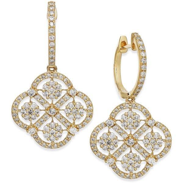 D'Oro by EFFY Diamond Cluster Drop Earrings in 14k Gold (1-5/8 ct. t.w.)