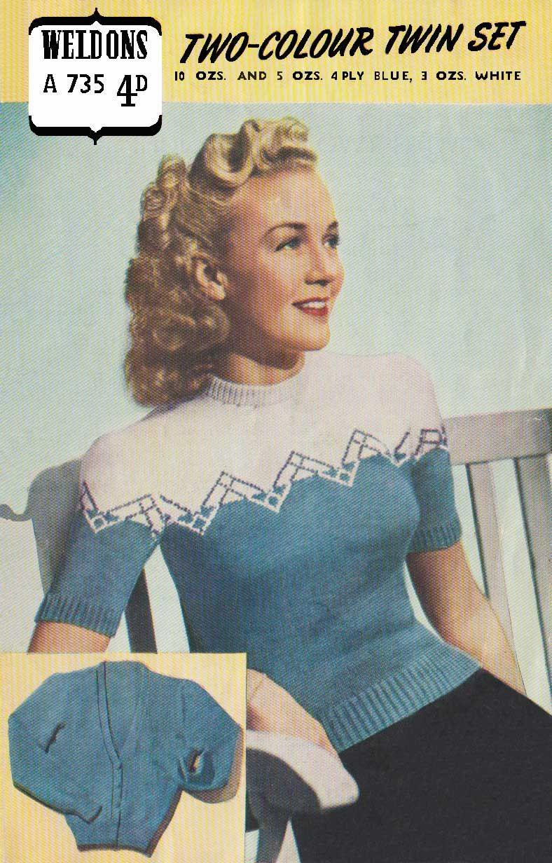 Vintage ladies two colour twin set knitting pattern 1940 pdf vintage ladies two colour twin set knitting pattern 1940 pdf pattern weldons 735 bankloansurffo Choice Image