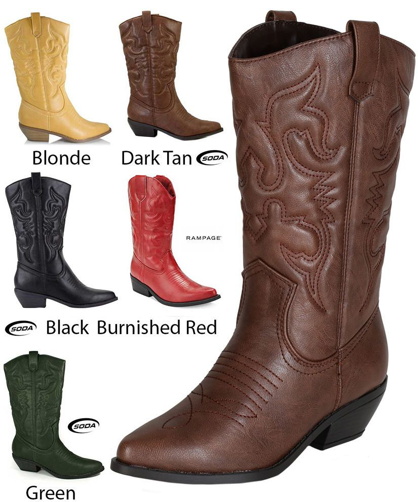 5c8b951e111 Women's Western Pointy Toe Rodeo Cowgirl Cowboy Boot Fashion Soda ...