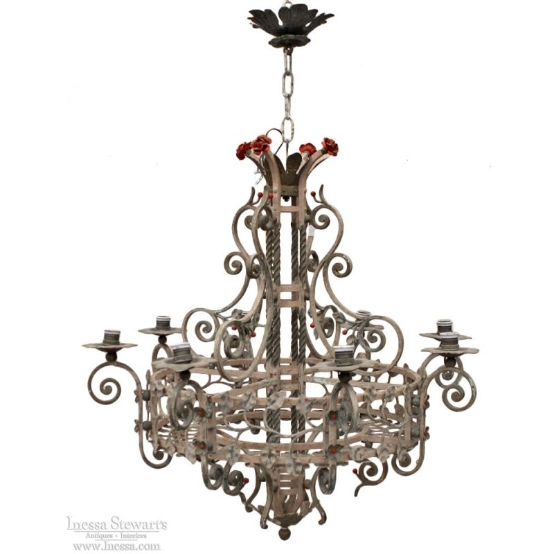 19th Century Country French Painted Wrought Iron Chandelier