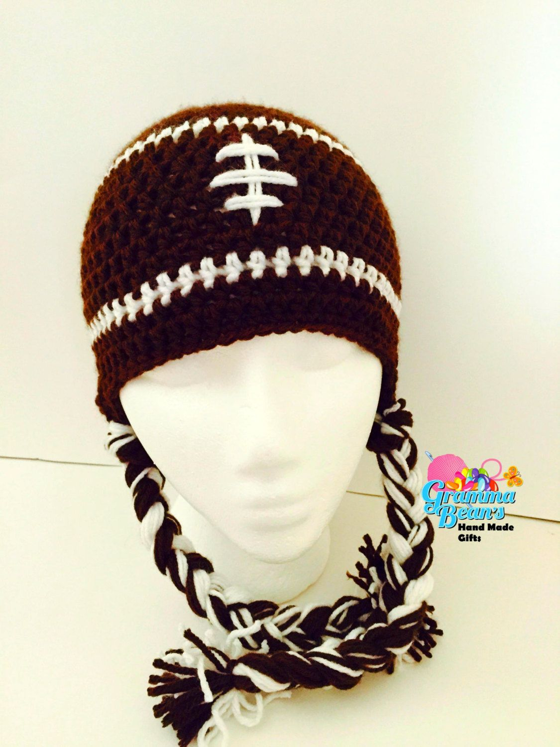 8265046d846 Fun  Football  Crochet  Beanie by grammabeans on Etsy  handmade  mmmakers   sports  fall  teams  babies  Kids  adults