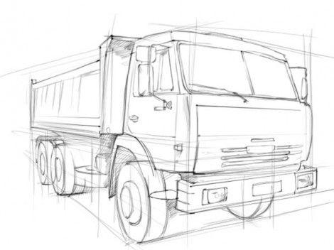 Как нарисовать грузовик карандашом поэтапно 3 | Грузовики ...