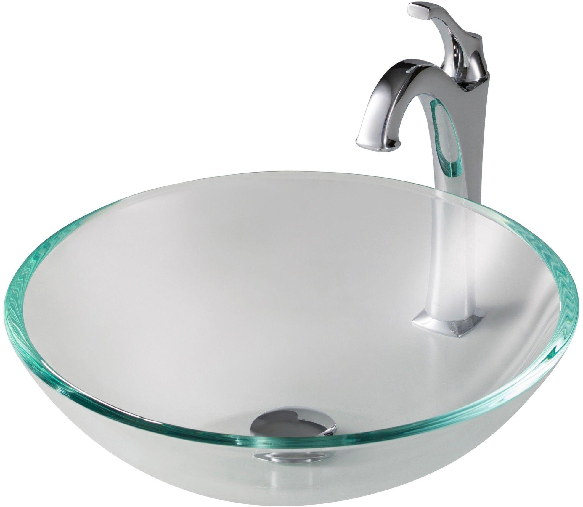 Kraus Single Tone Sink Faucet Combination Clear Cgv10012mm1200ch Glass Sink Sink Faucet