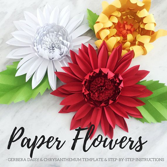 Paper Flower Template Paper Daisy Template Giant Paper Etsy Paper Flowers Paper Flower Template Flower Backdrop Diy