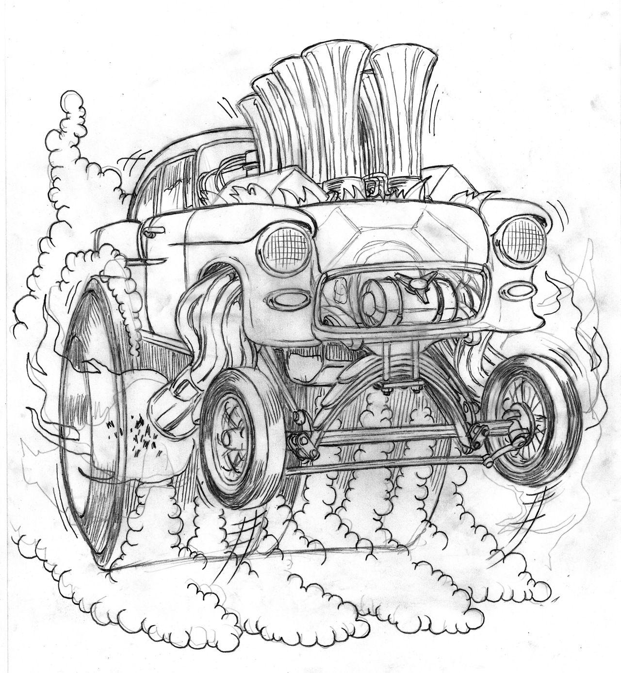 sketch 55 chevy gasser by coop illustration design pinterest Big Rig Rat Rod Trucks sketch 55 chevy gasser by coop