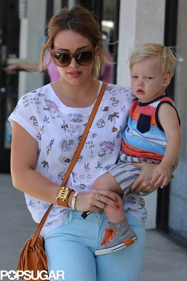 Mommy Time | Hilary Duff carried her son Luca while she ran errands in Studio City.