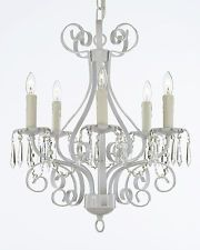 Wrought Iron Chandelier Lighting Country French Crystal White