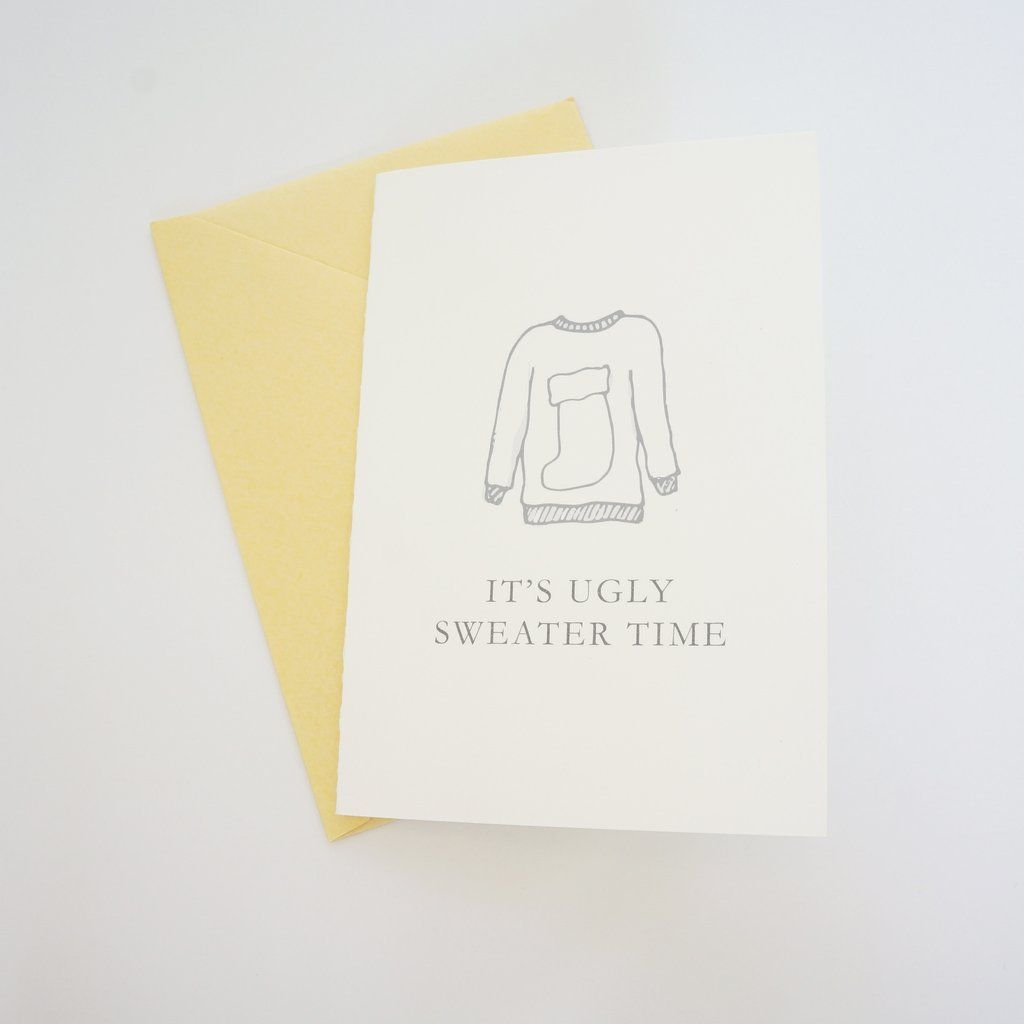 Funny Ugly Christmas Sweater Holiday Card Hand Drawn