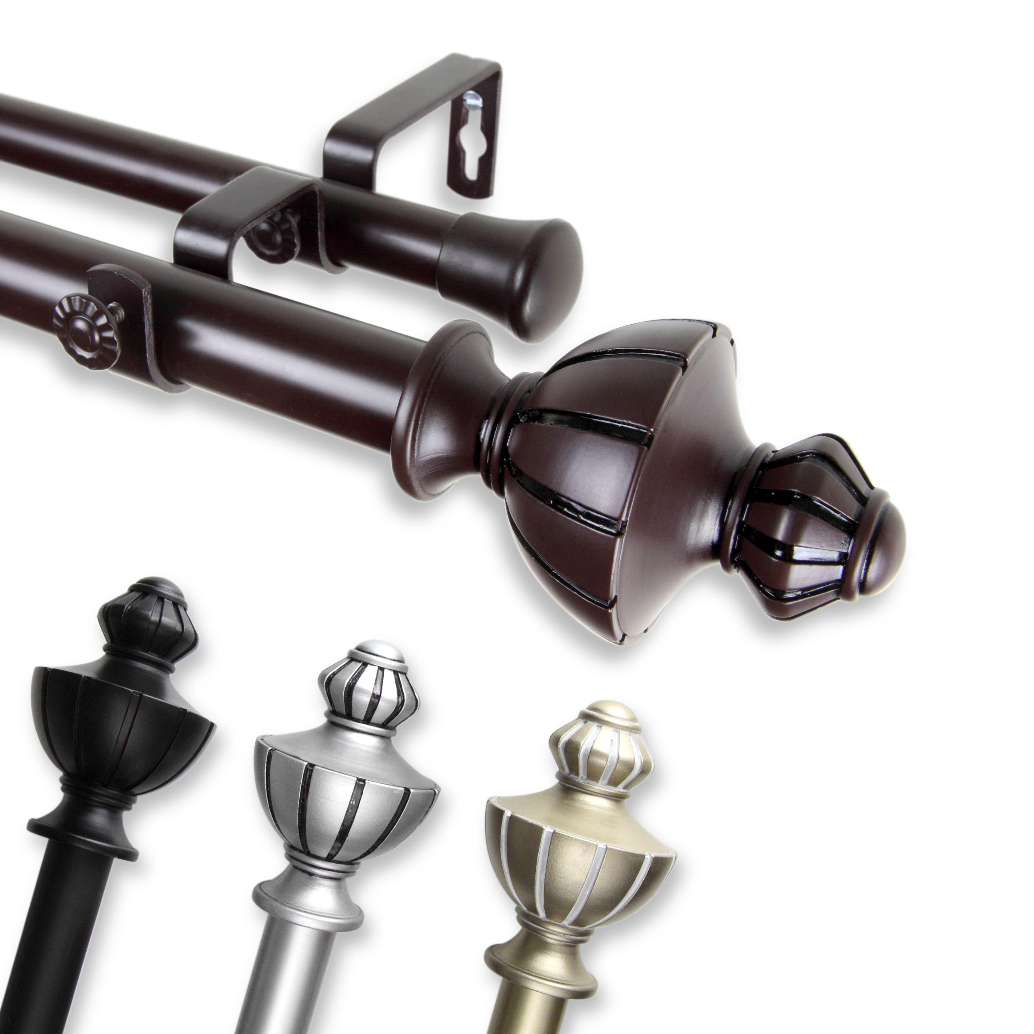 28 to 48-Inch Rod Desyne Fin Adjustable Window Curtain Rod Set Antique Brass