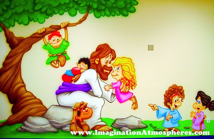 Jesus and the children cartoon mural www for Mural kartun