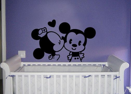 Classic Mickey and Minnie Mouse kissing vinyl wall decal & Classic Mickey and Minnie Mouse kissing vinyl wall decal | Nursery ...