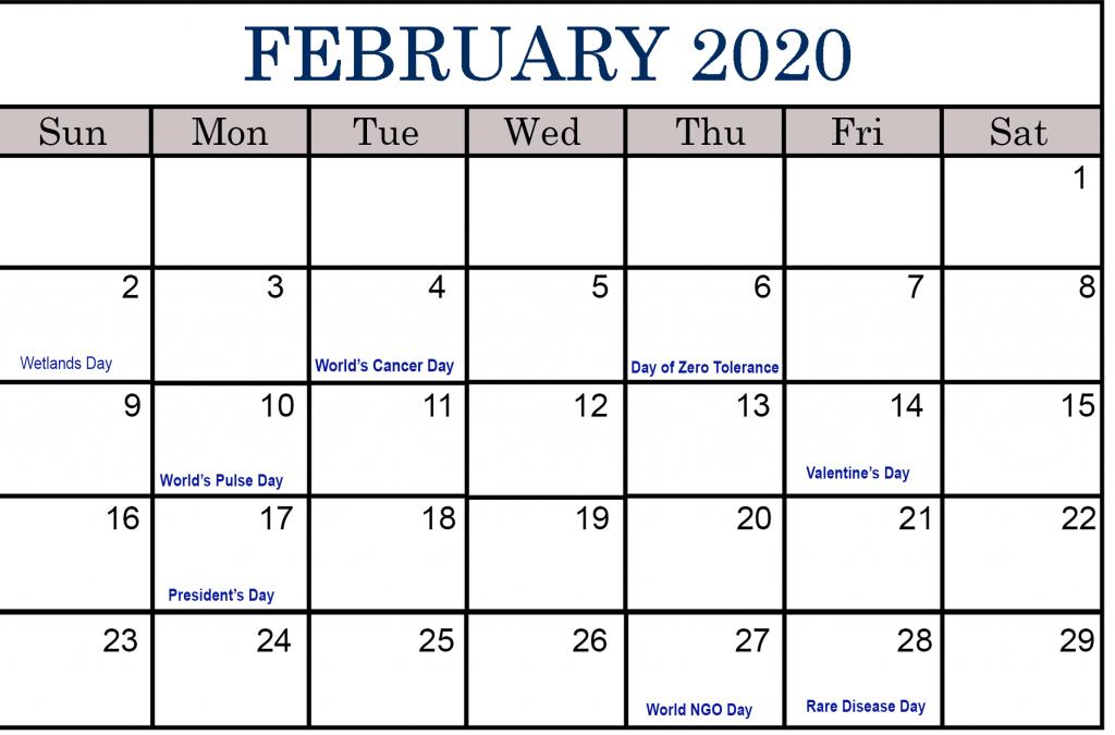 February Calendar 2020 with Holidays February calendar