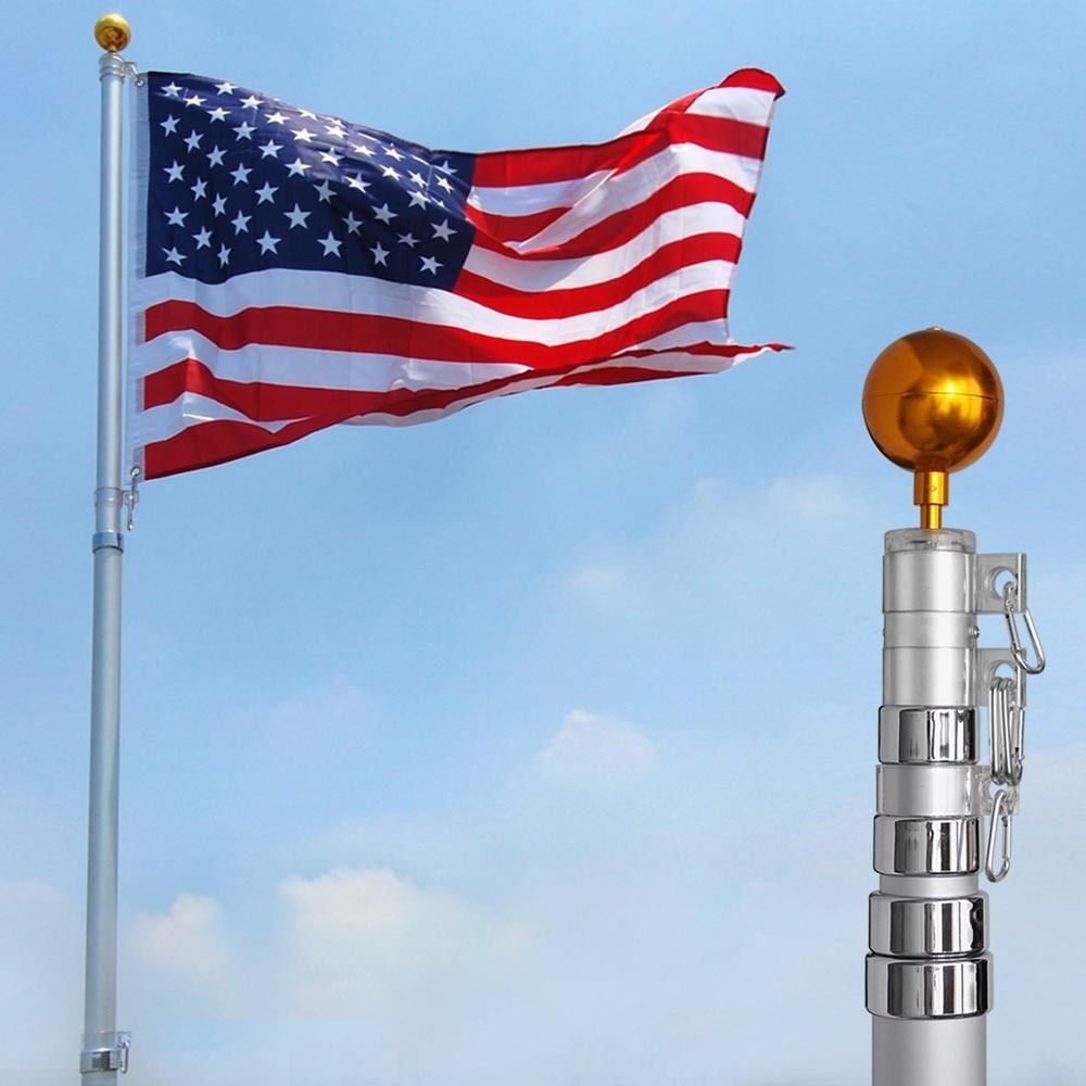 25ft Flag Pole Aluminum Telescopic Flagpole Kit Us Flag Ball Can Fly 2 Flag 640671038195 Ebay Flag Pole Kits Telescoping Flagpole Flag Pole
